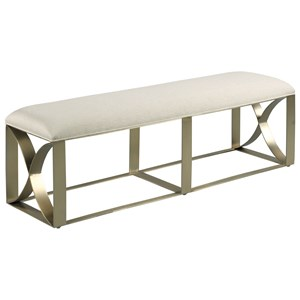 Upholstered Accent Bench with Metal Base