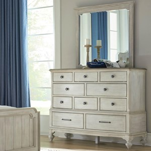 Cotswold Ten Drawer Dresser and Mirror Set with Removable Jewelry Tray