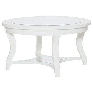 Cottage Cocktail Table with Tempered Glass Top