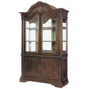 China Cabinet with 2 Beveled Glass Doors and Glass Adjustable Shelves with Touch Dimmer