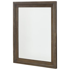 Rectangular Landscape Mirror with Wooden Frame and Supports