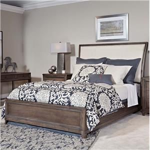 California King Sleigh Bed with Upholstered Headboard