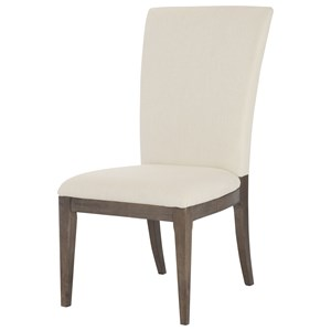 Sleek Contemporary Upholstered Side Chair with Wooden Base
