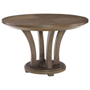 Contemporary 48-Inch Round Dining Table with Round Trestle Base