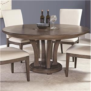 Contemporary 62-Inch Round Dining Table with Trestle Base