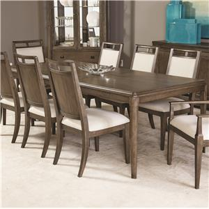 Contemporary Rectangular Dining Table with Block Legs and Extension Leaf