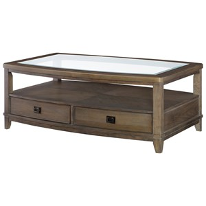 Contemporary Rectangular Cocktail Table with Glass Top and 2 Drawers and 1 Shelf