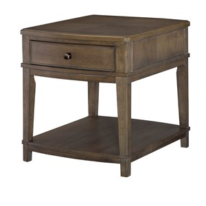 Contemporary Rectangular End Table with 1 Drawer and 1 Lower Shelf