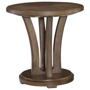 Contemporary Round Lamp Table with Pedestal Base