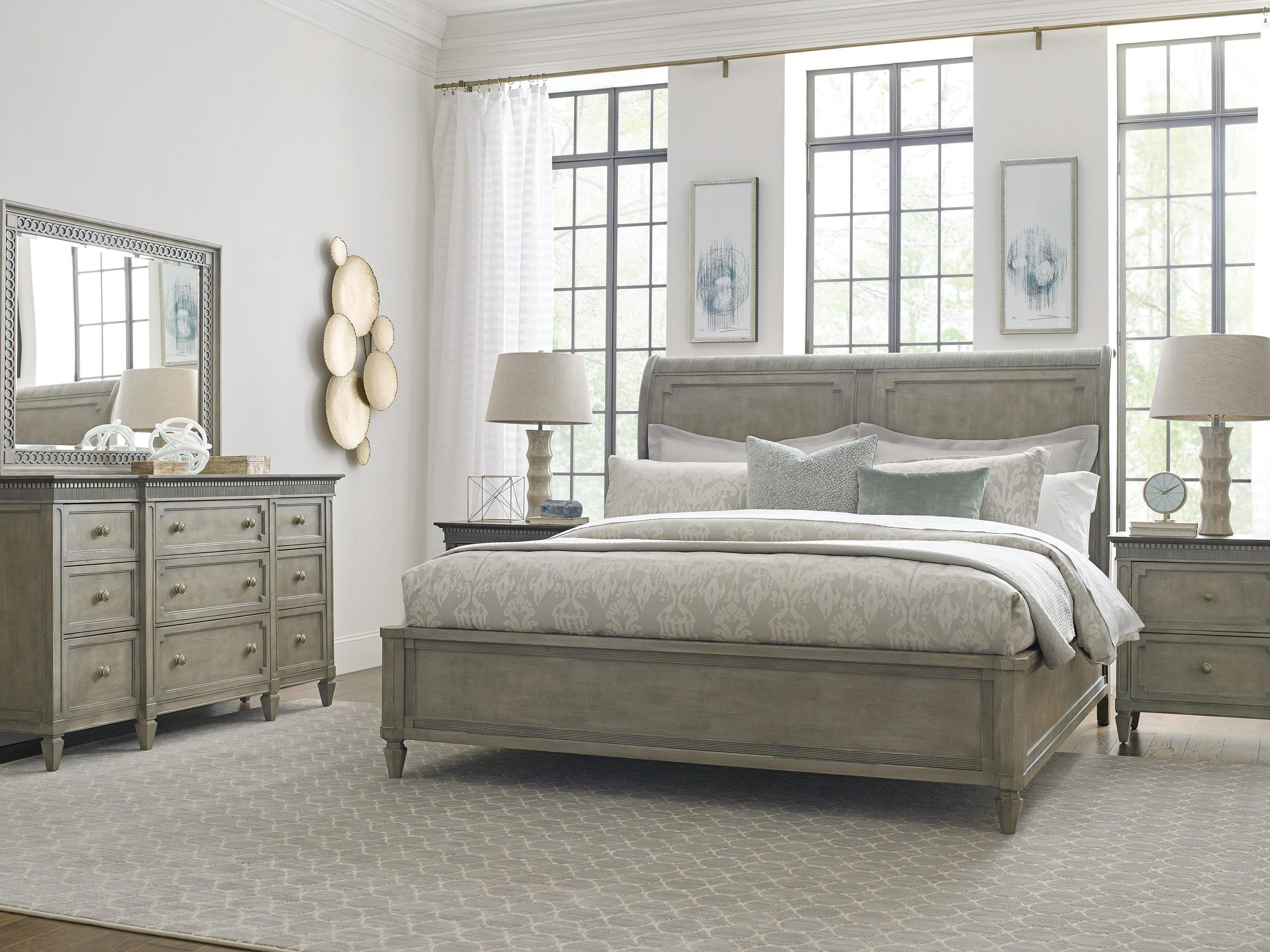 Savona Queen Bed, Nightstand, Dresser and Mirror by American Drew at Johnny Janosik