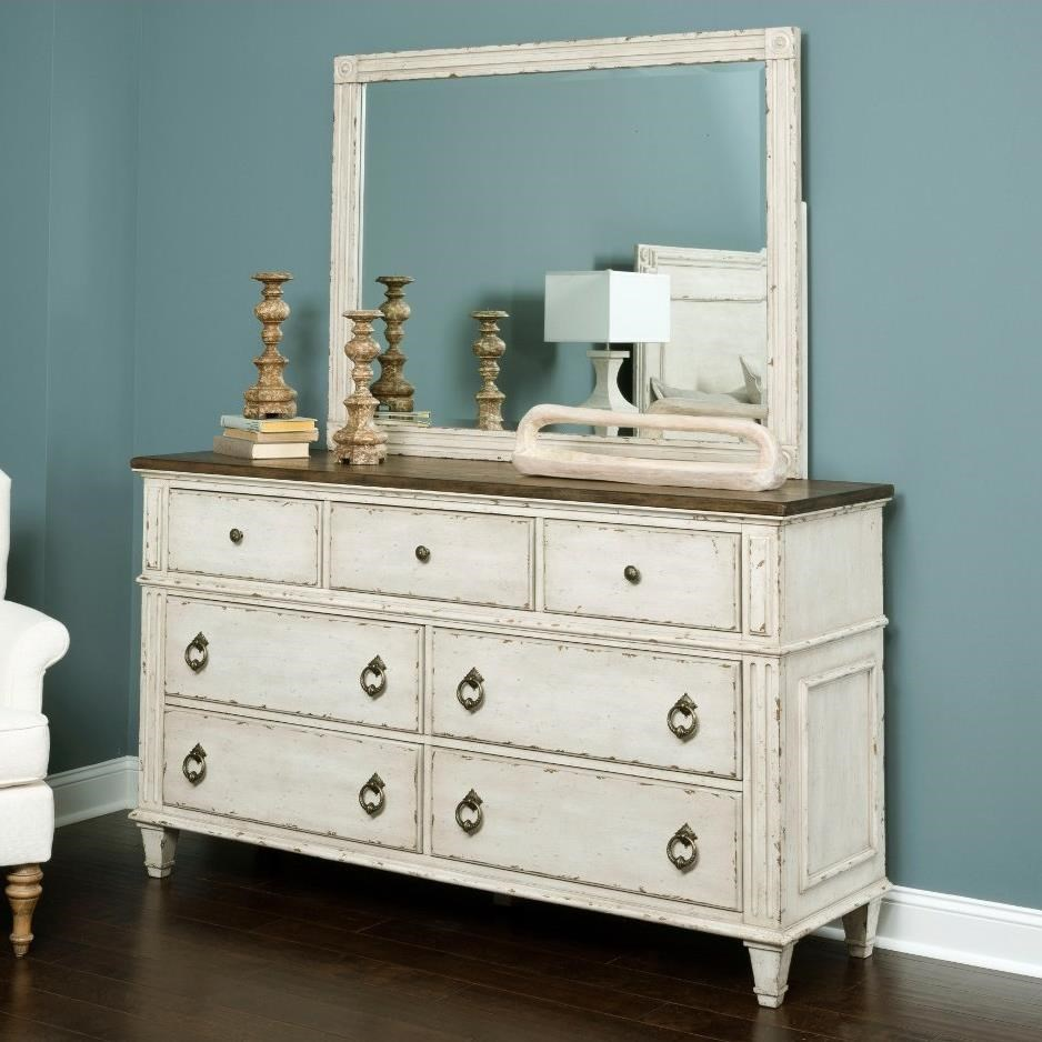 SOUTHBURY  Dresser and Mirror with Wood Frame by American Drew at Darvin Furniture