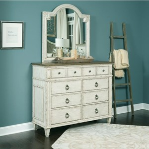 8 Drawer Bureau and Mirror with Wood Frame