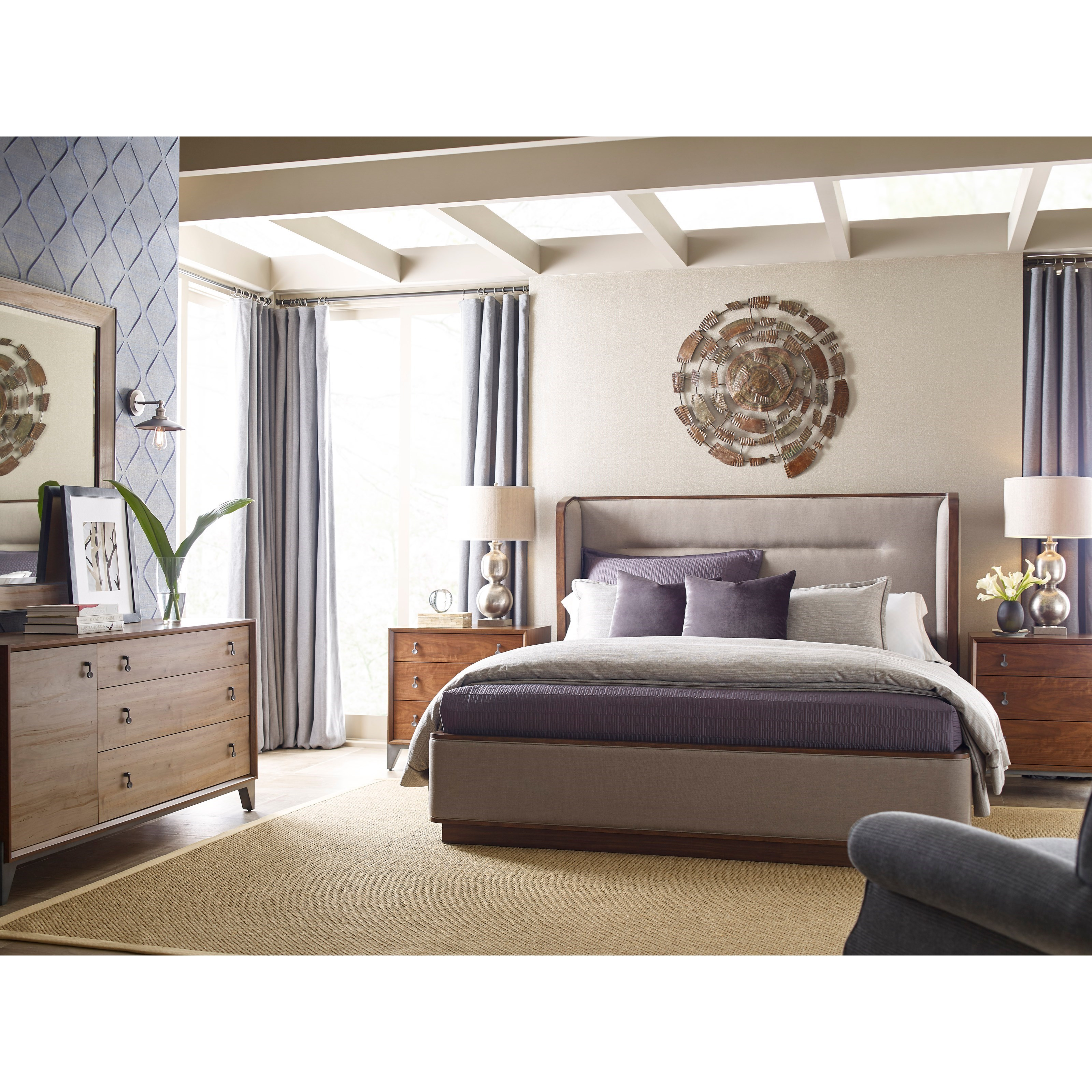Modern Synergy Cal King Upholstered Bedroom Group by American Drew at Northeast Factory Direct