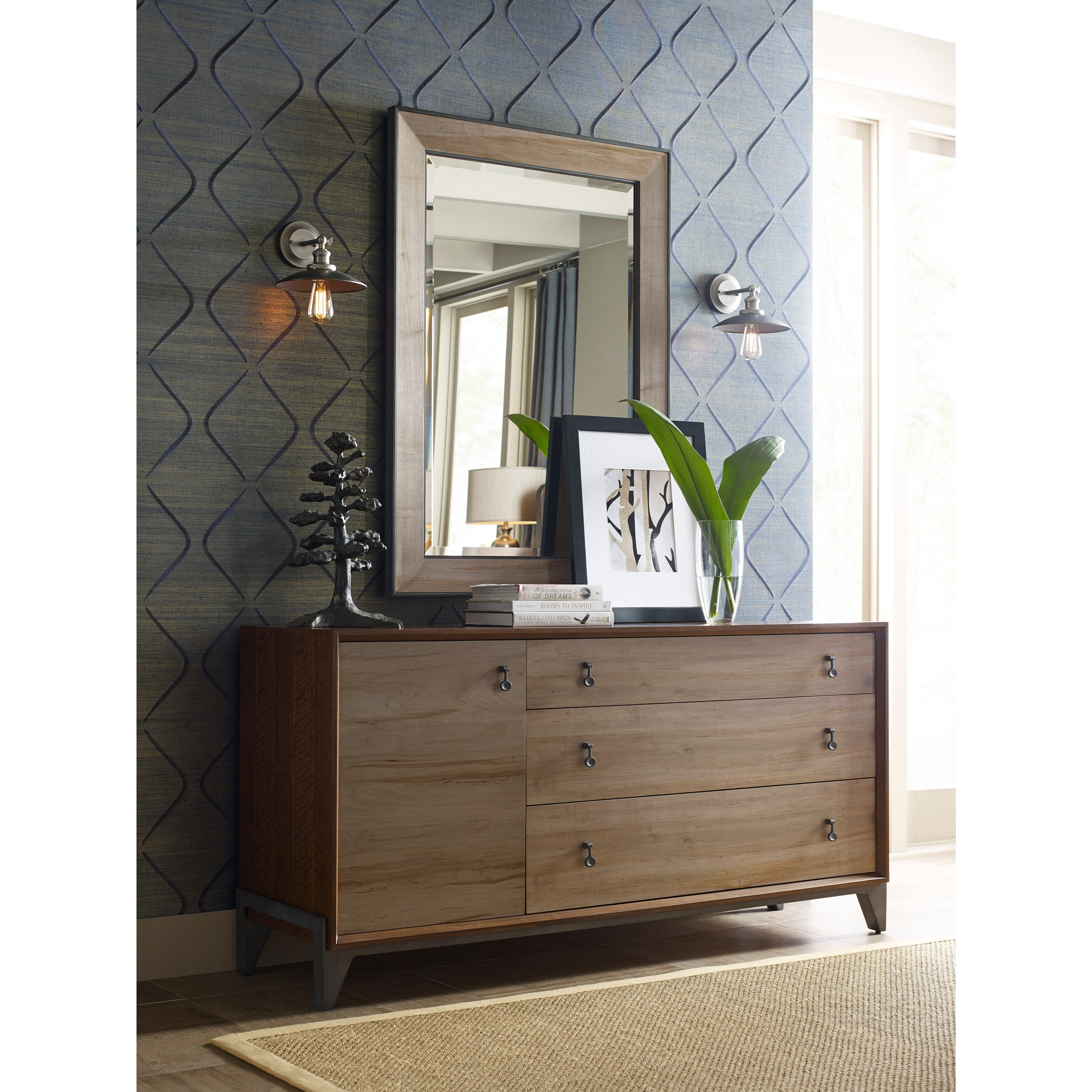 Modern Synergy Nouveau Dresser and Mirror Set by American Drew at Stoney Creek Furniture