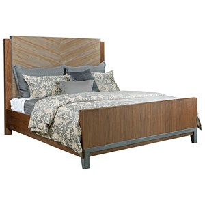 Contemporary Queen Chevron Panel Bed with Two-Tone Look