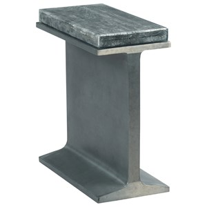 Industrial I-Beam Chairside Table with Charred Wood Top