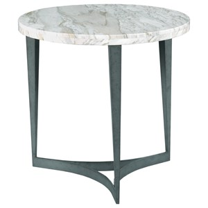 Contemporary Delphi Lamp Table with White Marble Top