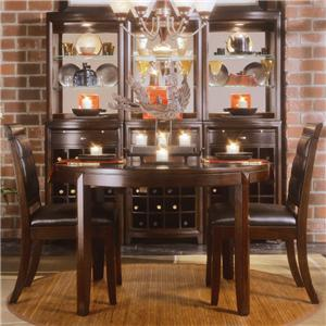 American Drew Tribecca 3-Piece Round Leg Table & Leather Chair Set