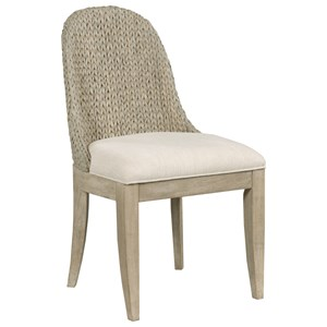 Relaxed Vintage Boca Woven Dining Chair with Upholstered Seat