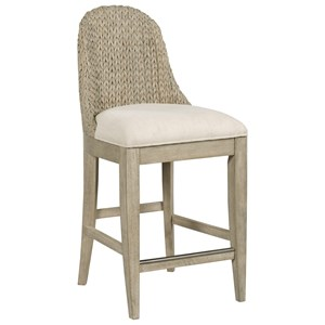 Relaxed Vintage Boca Woven Back Stool with Upholstered Seat