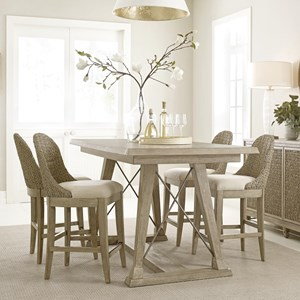 Relaxed Vintage 5 Piece Counter Height Dining Set with Woven Stools