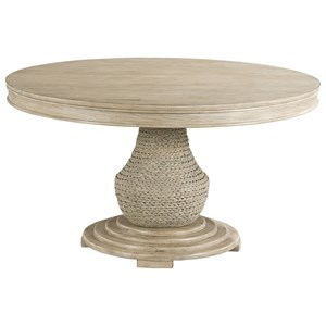 Relaxed Vintage Largo Round Dining Table with Woven Seagrass Pedestal
