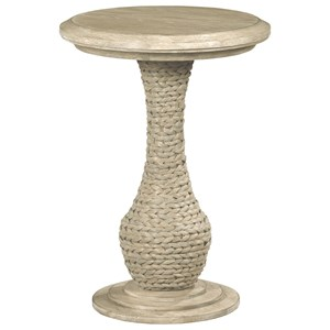 Relaxed Vintage Biscane Round End Table with Woven Seagrass Pedestal