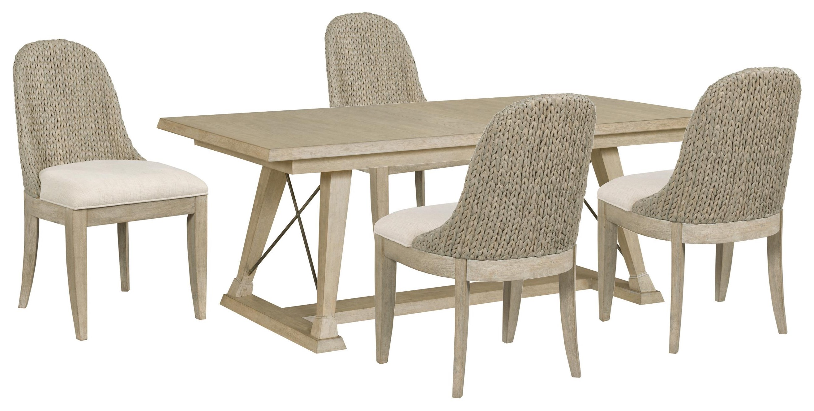 Vista Table and Four Boca Woven Chairs by American Drew at Johnny Janosik