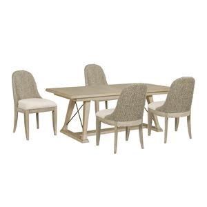 Table and Four Boca Woven Chairs