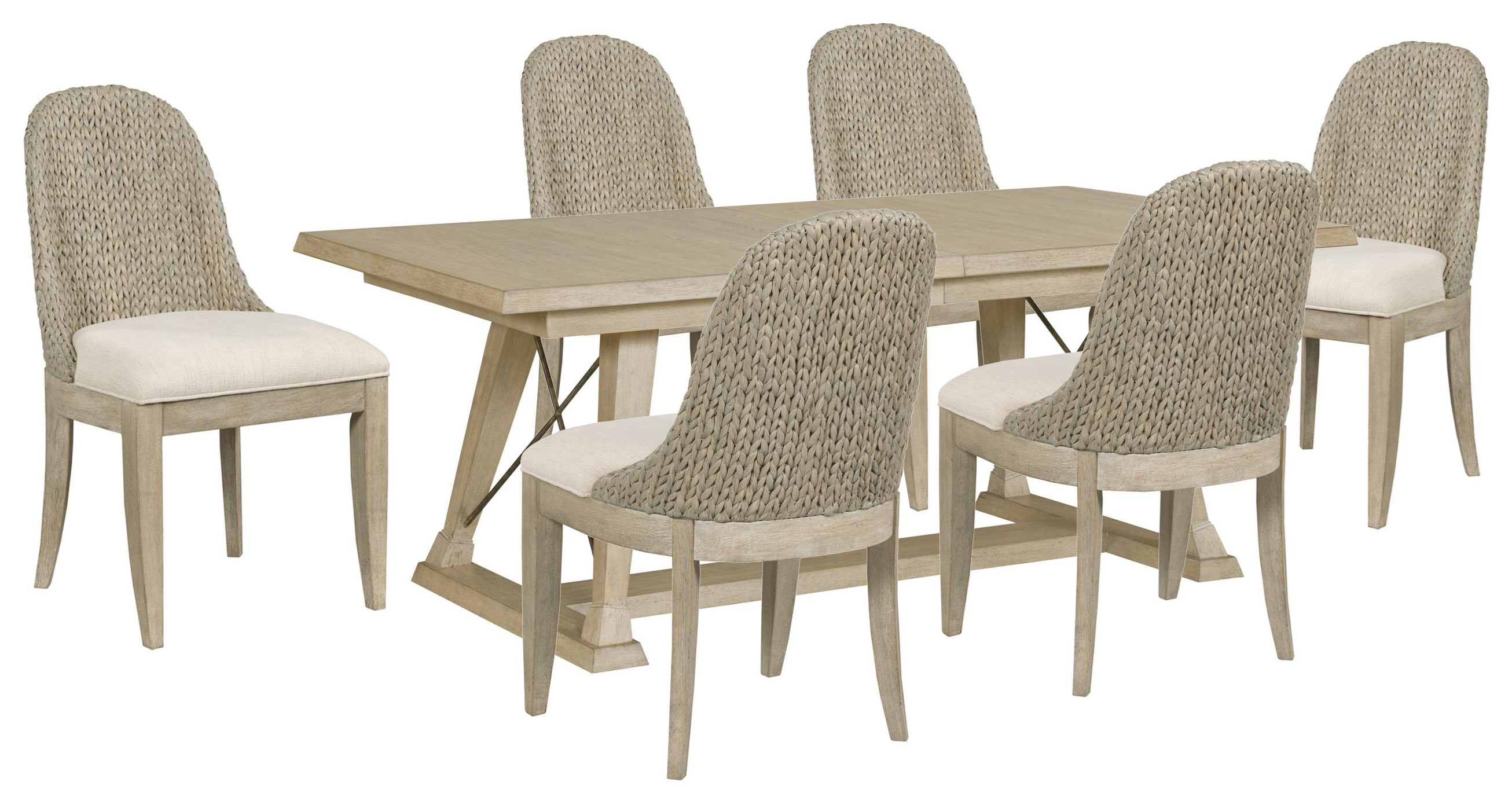 Vista Table and Six Boca Woven Chairs by American Drew at Johnny Janosik