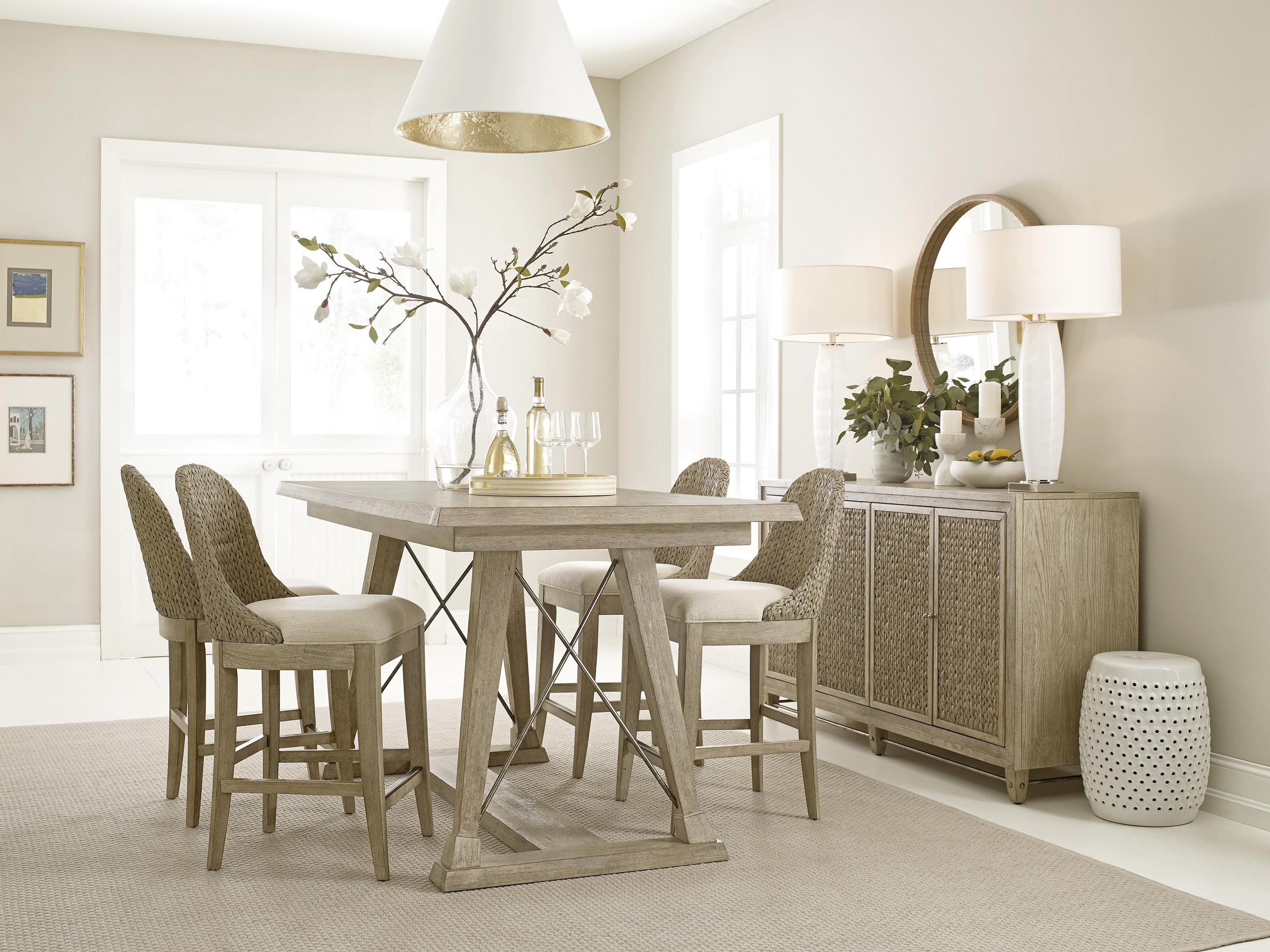 Vista Table and Six Boca Woven Stools by American Drew at Johnny Janosik