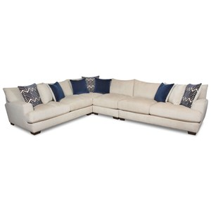 Contemporary 5 Seat Sectional with Gel-Infused Cushions