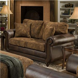 Loveseat with Exposed Wood and Classic Style
