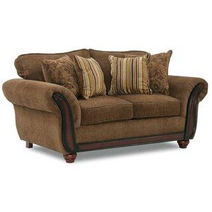Loveseat with Wood Face on Arms