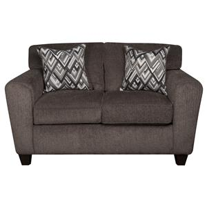 Contemporary Loveseat with Accent Pillows