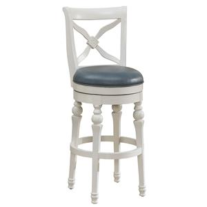 "30"" Livingston Bar Height Stool in Antique White with Swivel Cornflower Blue Bonded Leather Seat"