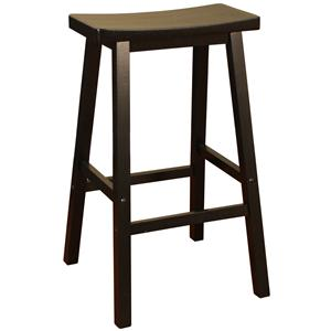 "American Heritage Billiards Bar Stools 30"" Black Wood Saddle Bar Stool"
