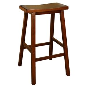 "30"" Walnut Wood Saddle Bar Stool"