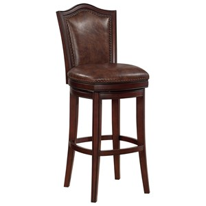 Upholstered Swivel Bar Stool with Tacking