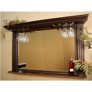 Bar Mirror wtih Stemware Holder and Display Shelf