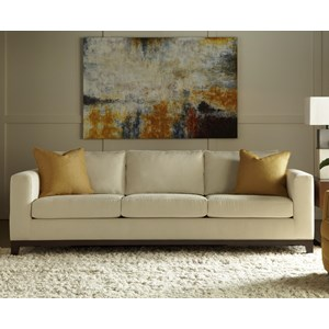 "Contemporary 90"" Sofa with Exposed Wood Base"