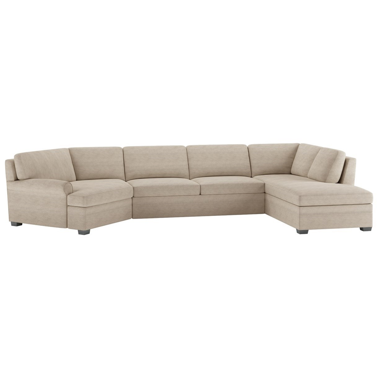 Gaines 3 Pc Sectional w/ Queen Sleeper & LAS Chaise by American Leather at Saugerties Furniture Mart