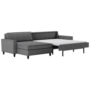 Contemporary Two Piece Sectional Sofa with Chaise Lounge and Full Sleeper Mattress