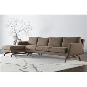 Contemporary Sectional with Right Arm Chaise and Solid Walnut Legs