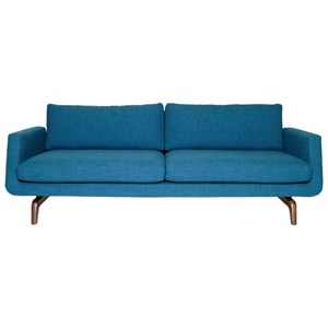 Contemporary Sofa with Angled Track Arms and Two Cushions