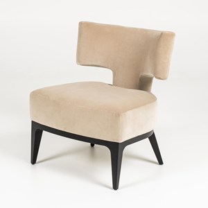 Contemporary Accent Chair with Wood Base
