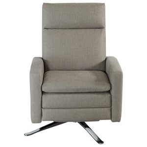 Contemporary Swivel Recliner with Metal Base