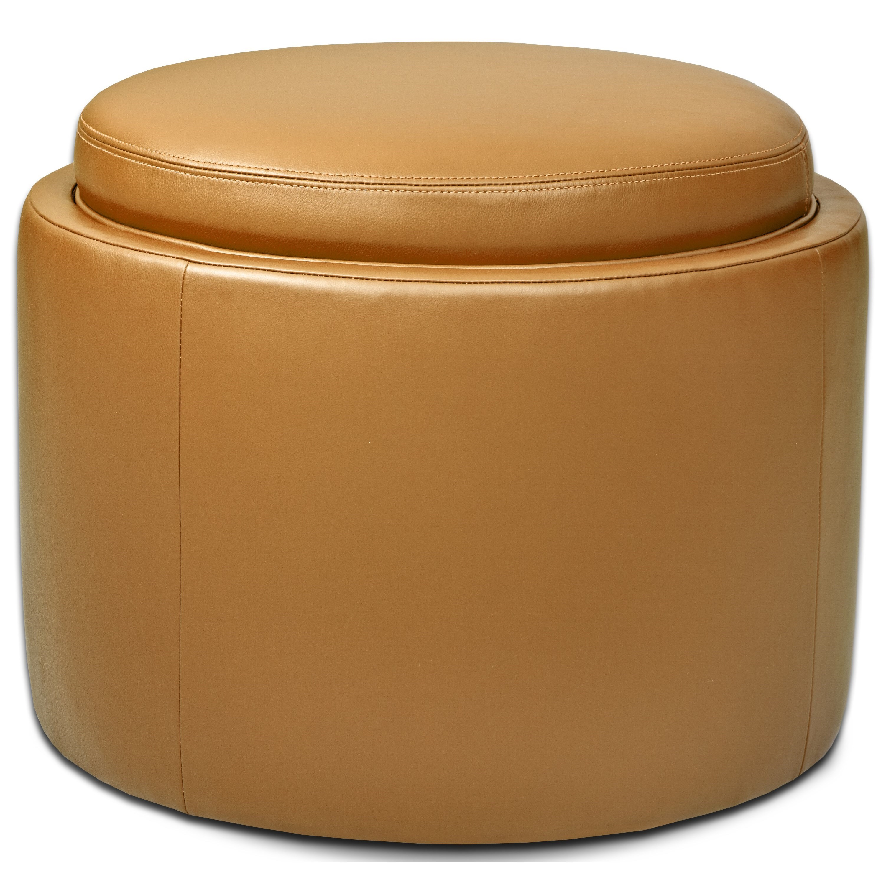 Uno Round Storage Ottoman by American Leather at Jacksonville Furniture Mart
