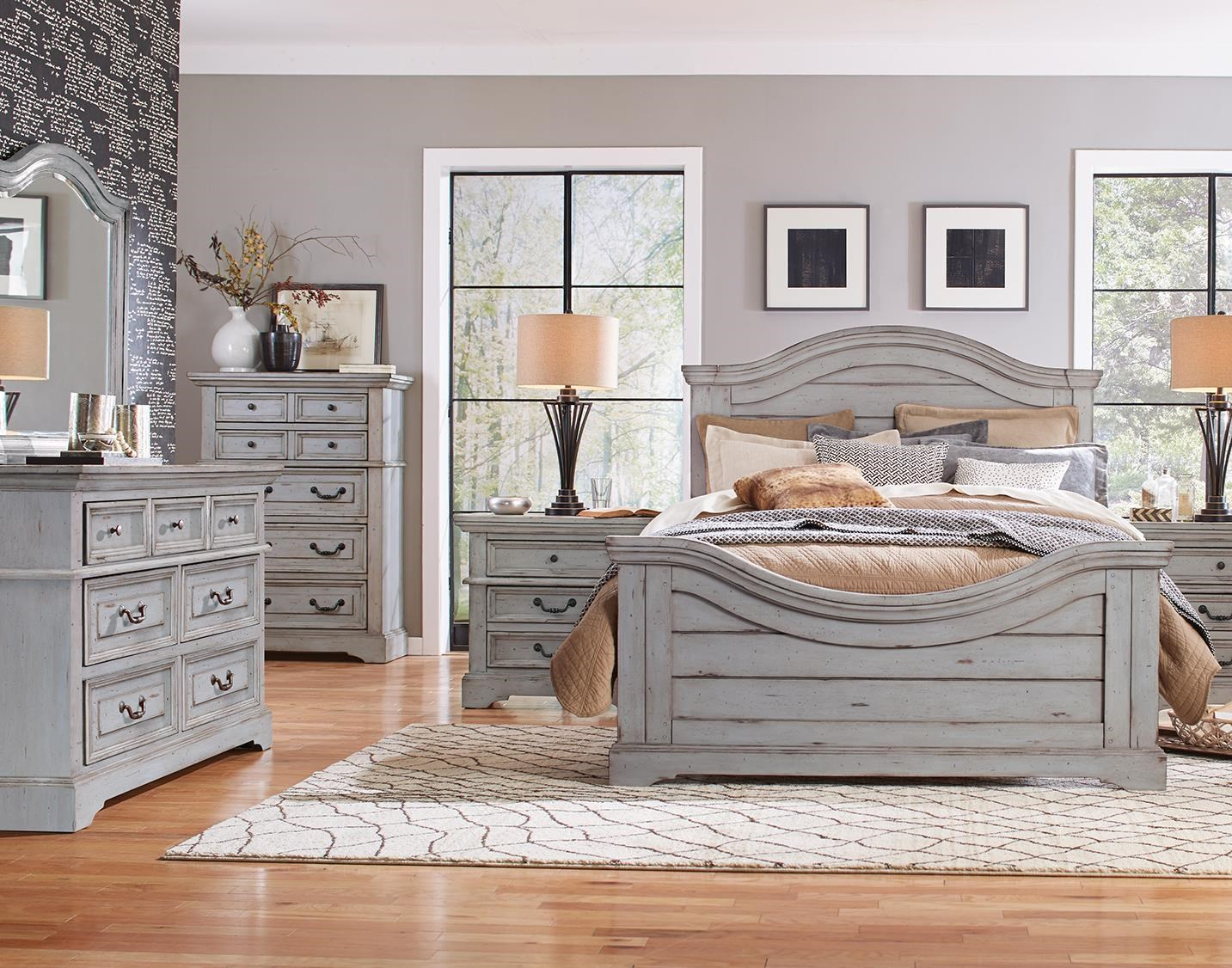 Queen Panel Bed, Dresser, Mirror, Nightstand in Antique Gray Finish