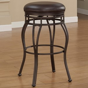 Backless Metal Stool with Upholstered Swivel Seat